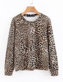 Fashion Brown Leopard Pattern Decorated Simple Sweater