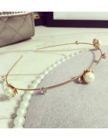 Elegant Gold Color Pearls&diamond Decorated Hair Hoop
