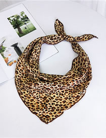 Fashion Yellow Leopard Pattern Decorated Small Scarf