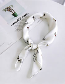 Fashion White Cat Pattern Decorated Small Scarf