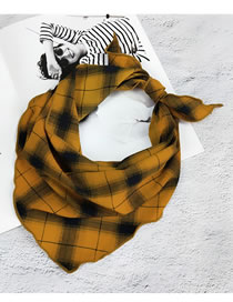 Fashion Yellow Grid Pattern Decorated Small Scarf