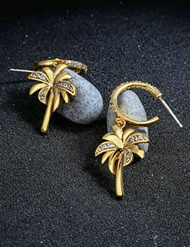 Fashion Gold Color Coconut Tree Decorated Earrings