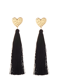 Elegant Black Heart Shape Design Long Tassel Earrings