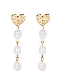 Elegant Gold Color Pearls Decorated Heart Shape Earrings
