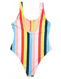 Sexy Multi-color Stripe Pattern Design One-piece Swimwear