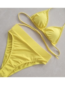 Sexy Yellow Pure Color Design High Waist Swimwear