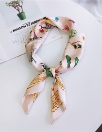 Fashion Pink Cactus Pattern Decorated Small Scarf