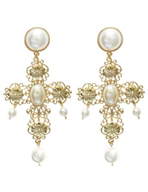 Fashion Gold Color Pearls Decorated Cross Shape Earrings