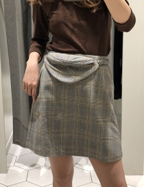 Fashion Gray Grid Pattern Decorated Skirt Without Waist Pack