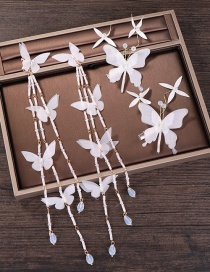 Fashion White Butterfly Shape Decorated Jewelry Set(4pcs Hair Clips+1pairs Earrings)