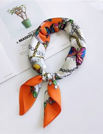 Fashion Orange Butterfly Pattern Decorated Small Scarf