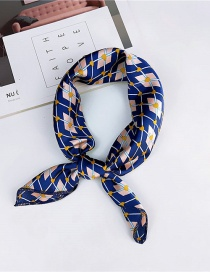 Fashion Navy Rhombus Pattern Decorated Small Scarf