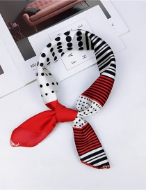 Fashion Red Lines&dots Pattern Decorated Scarf
