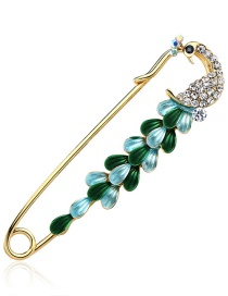 Fashion Blue Peacock Shape Decorated Brooch