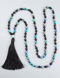 Fashion Black Tassel Decorated Bead Bracelet