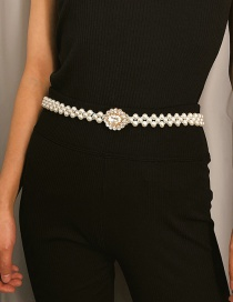 Fashion White Pearl Decorated Waist Chain