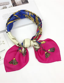 Fashion Plum Red Flower Pattern Decorated Scarf
