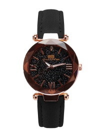 Fashion Black Starry Sky Decorated Pure Color Strap Watch