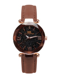 Fashion Coffee Starry Sky Decorated Pure Color Strap Watch