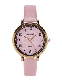 Fashion Pink Round Shape Dial Design Simple Watch