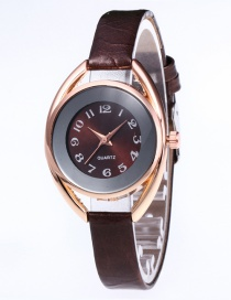 Fashion Coffee Round Shape Dial Design Leisure Watch