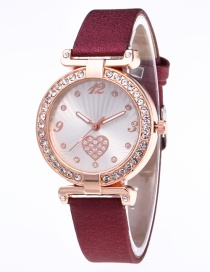 Fashion Claret Red Heart Shape Pattern Decorated Leisure Watch