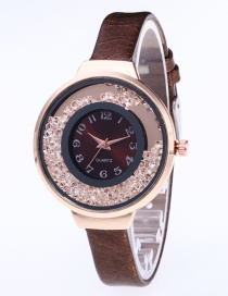 Fashion Coffee Diamond Decorated Pure Color Strap Watch