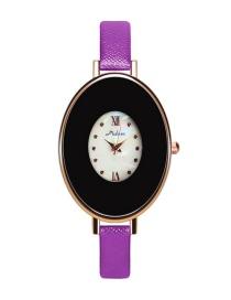 Fashion Purple Egg Shape Dial Design Pure Color Strap Watch