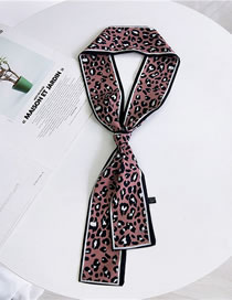 Fashion Pink Leopard Pattern Decorated Scarf