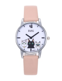 Fashion Apricot Cats Decorated Round Dial Watch