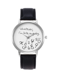 Fashion Black Letter Pattern Decorated Watch