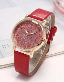 Fashion Red Pure Color Decorated Watch