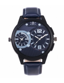 Fashion Blue Pure Color Decorated Watch