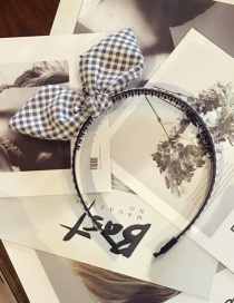 Fashion Gray Grids Pattern Decorated Hair Hoop