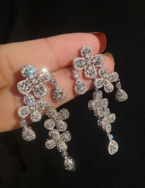 Simple Silver Color Diamond Decorated Earrings