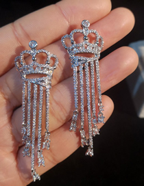 Simple Silver Color Crown Shape Decorated Earrings