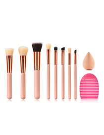 Fashion Beige Round Shape Decorated Makeup Brush ( 8 Pcs )