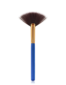 Simple Blue Sector Shape Decorated Makeup Brush