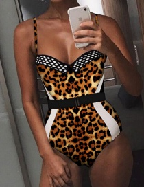 Fashion Brown Leopard Pattern Decorated Swimwear