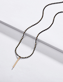 Fashion Black Electrophoresis Chain Geometric Square Pendant Necklace
