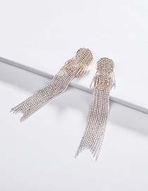 Fashion White Electrophoresis Colored Bead Chain Multi-layer Tassel Earrings