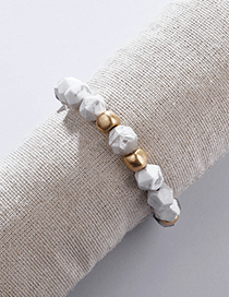 Fashion White Natural Agate Stone Faceted Beads Elastic Line Bracelet