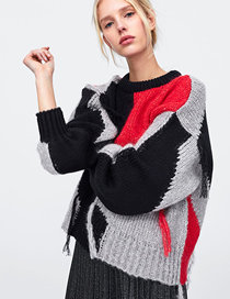 Fashion Stitching Sweater Fringed Contrast Knit Sweater