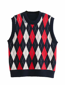 Fashion Navy Rhombus Jacquard Round Neck Core Yarn Vest