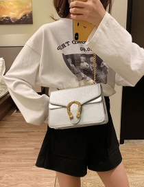 Fashion Silver Chain Lock Single Shoulder Slung Small Square Bag