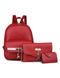 Fashion Red Three-piece Pure Color Backpack