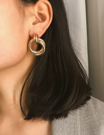 Fashion Gold Double Spiral Spiral Stud Earrings