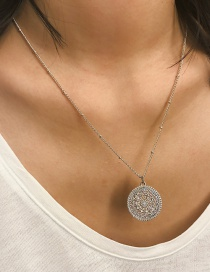 Fashion Silver Openwork Flower Geometric Pendant Single Layer Necklace