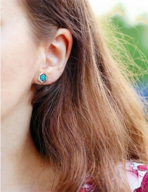 Fashion Silver 925 Silver Geometric Turquoise Round Stud Earrings
