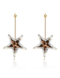 Fashion Gold Alloy Leopard Five-pointed Star Stud Earrings